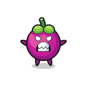 Gniewny wyraz postaci maskotki mangostanu, ładny styl na koszulkę, naklejkę, element logo