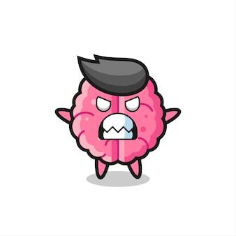 Gniewny wyraz postaci maskotki mózgu, ładny styl na koszulkę, naklejkę, element logo
