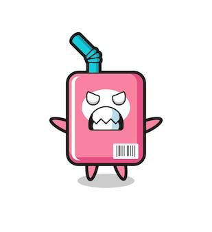 Gniewny wyraz postaci maskotki z pudełkiem mleka, ładny styl na koszulkę, naklejkę, element logo