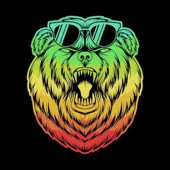 Gniewnych niedźwiadkowych okularów kolorowa ilustracja