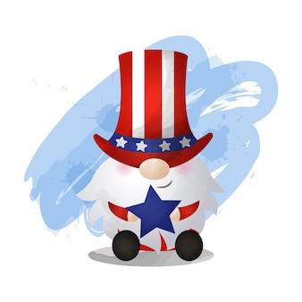 Gnom w stylu akwareli ubrany w amerykański kostium 4 lipca obchody dnia!