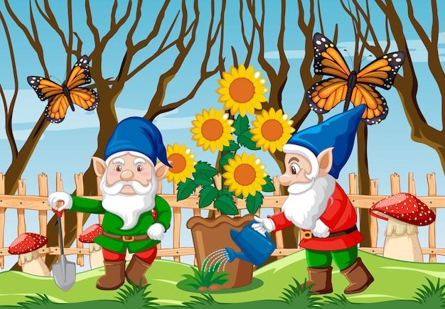 Gnom z czerwoną pieczarką, słoneczniki i motyl w ogrodowej scenie