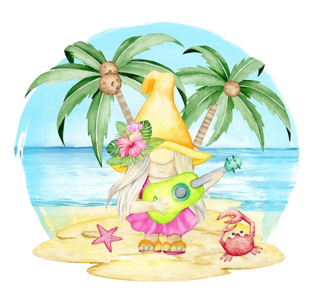 Gnom z zieloną gitarą w rękach stoi na piasku, palmach i morzu.