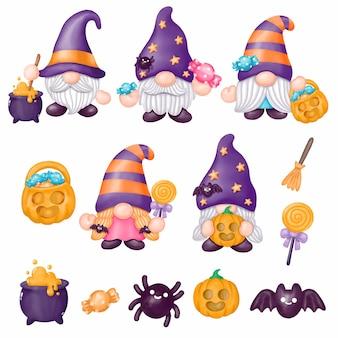 Gnomy halloween clipart, czarodziej witch halloween event, akwarela malarstwo cyfrowe