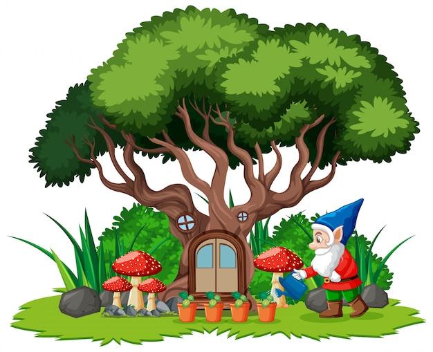 Gnomy i domek na drzewie kreskówka styl na białym tle