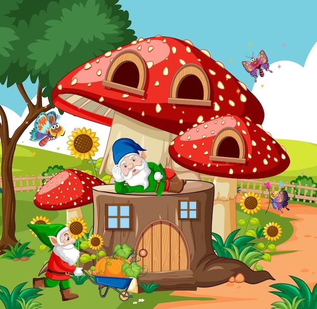 Gnomy i drewniany dom grzybowy oraz w stylu kreskówki ogród na tle ogrodu