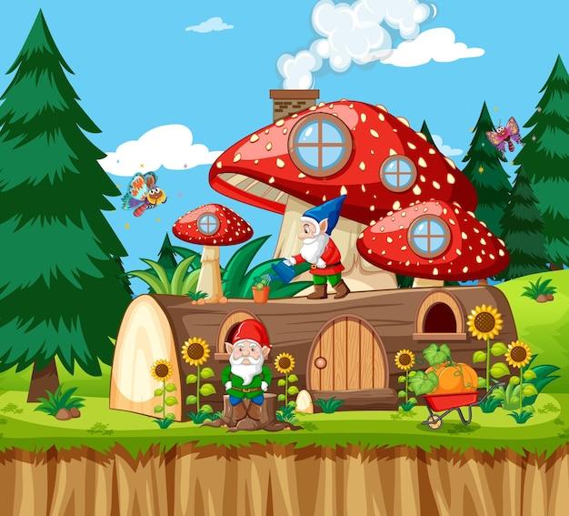 Gnomy i drewniany dom grzybowy oraz w stylu kreskówki ogród w ogrodzie