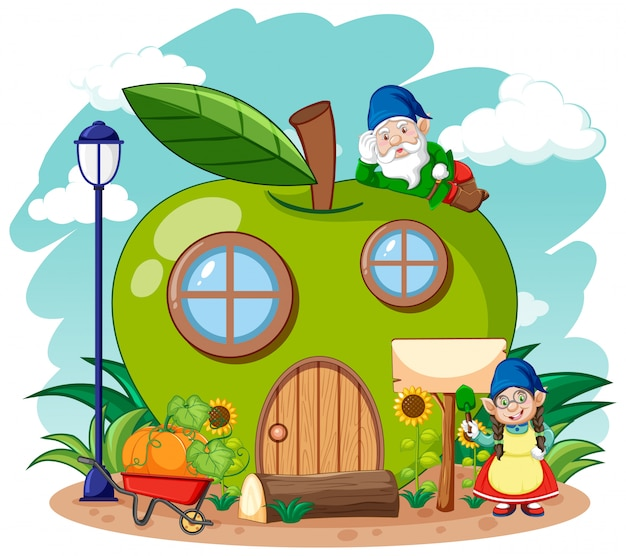 Gnomy i zielony apple house w stylu cartoon ogród na tle nieba