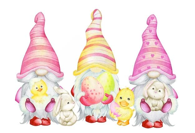 Gnomy, jajka, króliki, kurczaki. akwarela clipart, na białym tle, w stylu kreskówki. pozdrowienie ilustracja na święta wielkanocne.