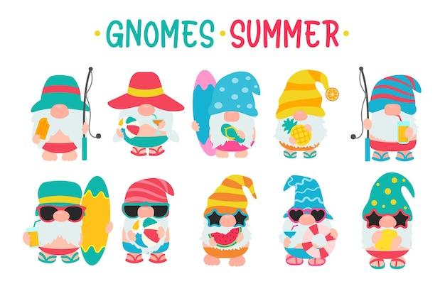 Gnomy noszą kapelusze i okulary przeciwsłoneczne na lato