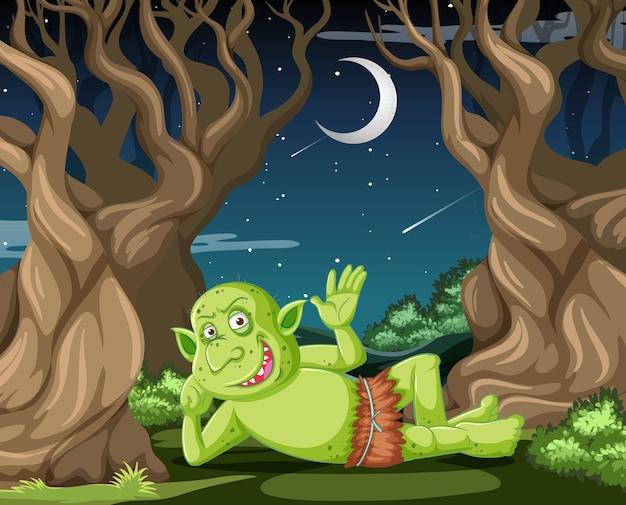 Goblin lub troll leżący na scenie w stylu kreskówki lasu