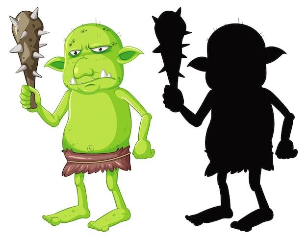 Goblin lub troll trzyma narzędzie myśliwskie w kolorze i sylwetce w postaci z kreskówki na białym tle