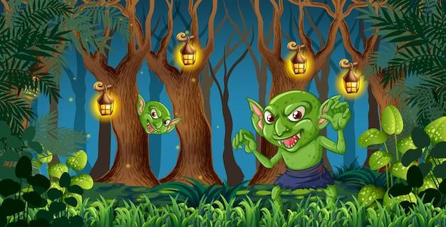 Goblin w ciemnym lesie