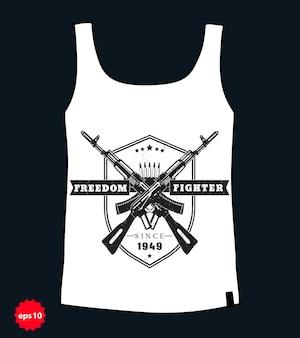 Godło bojownika o wolność, ze skrzyżowanymi karabinami szturmowymi, projekt koszulki w stylu grunge