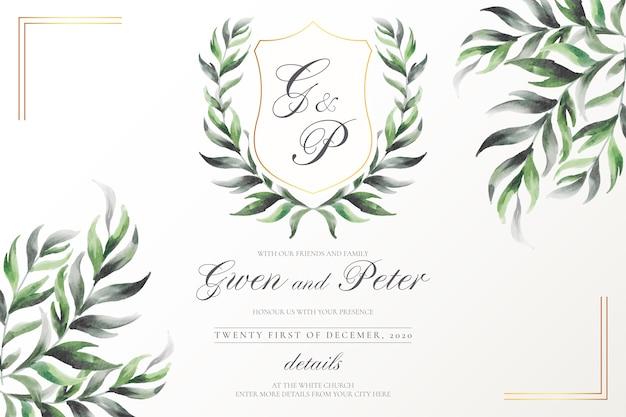 Godło elegancki ślub z liśćmi akwarela