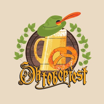 Godło festiwalu piwa oktoberfest. duży kufel do piwa, tyrolski kapelusz i tradycyjny niemiecki precel. napis pismem gotyckim. ręcznie rysowane ilustracja.