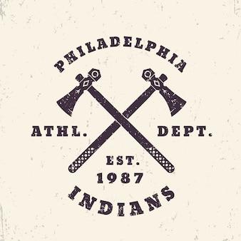 Godło grunge indian philadelphia, projekt koszulki, druk, ilustracja