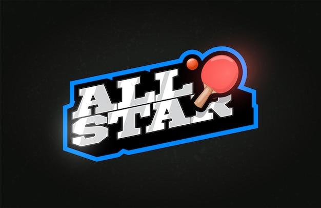 Godło i szablon logo all star modern typografii profesjonalnej ping pongowej w stylu retro.
