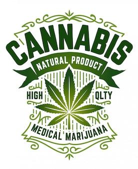 Godło konopi w stylu retro. zielony emblemat z liściem marihuany, wstążką i wzorami vintage na białym tle. sztuka.