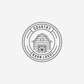 Godło line art barn vector logo, ilustracja projektu vintage badge of barn storehouse farmhouse concept