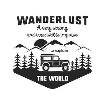 Godło Logo Wanderlust Na Białym Tle Premium Wektorów