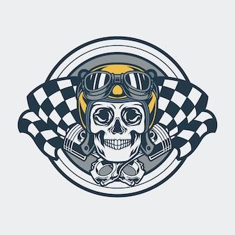 Godło motocyklisty czaszki