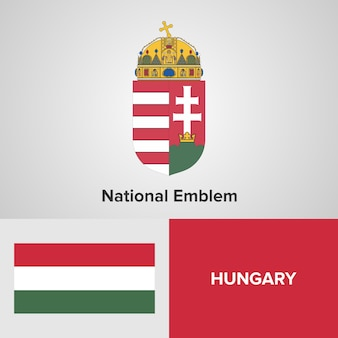 Godło Narodowe Węgier I Flaga Premium Wektorów