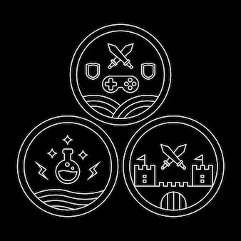 Godło, odznaka lub zestaw ikon monoline rpg lub roleplay game
