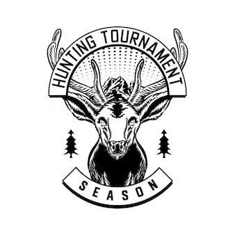 Godło odznaka wektor logo polowania z jelenia