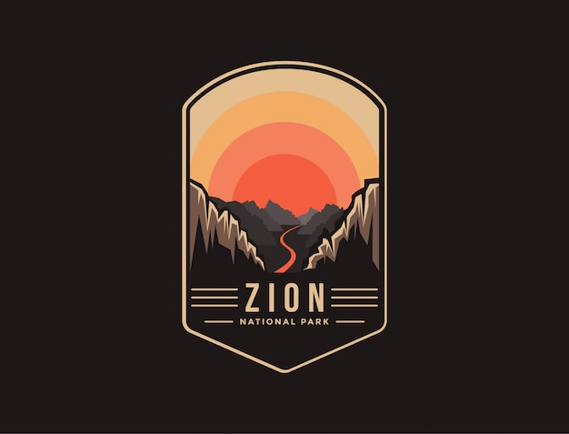 Godło patch logo ilustracja parku narodowego zion