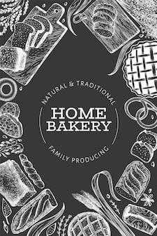 Godło plakat chleb i ciasto. wektorowa ręka rysująca piekarni ilustracja na kredowej desce