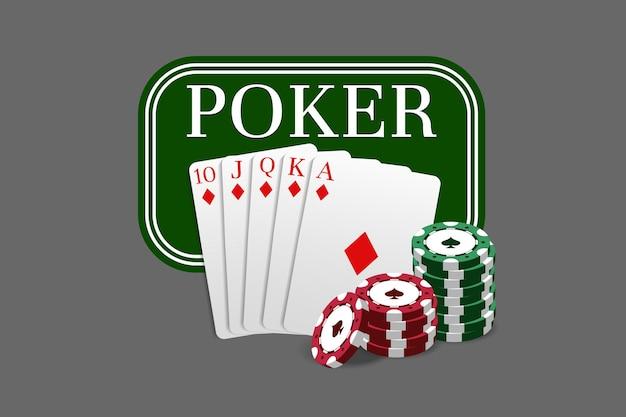 Godło pokera jest połączone z kombinacją czterech kart asów i żetonów kasyna. może służyć jako logo, baner, tło. ilustracja wektorowa w realistycznym stylu.