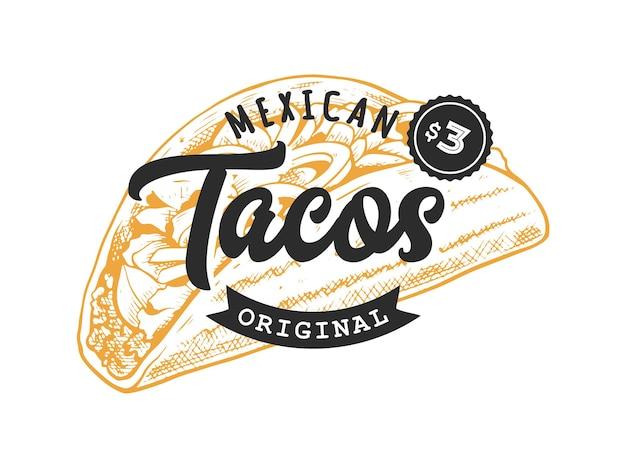 Godło retro tacos. szablon logo z czarnymi literami i żółtym szkicem tacos. ilustracja wektorowa eps10.