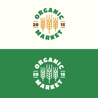 Godło rynku ekologicznego w stylu linii koloru pszenicy