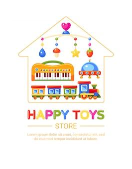 Godło sklep z zabawkami dla dzieci. muzyczny mobilny pociąg, fortepian, ufo i szopka. ilustracja.
