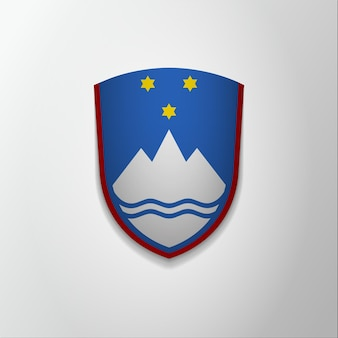 Godło słowenii. 26 grudnia. ilustracja wektorowa. niebieska tarcza z gwiazdami i górą. blazon, herb. symbol narodowy. szablon projektu graficznego.