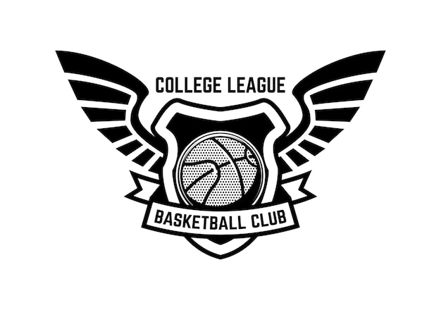 Godło sport koszykówki ze skrzydłami