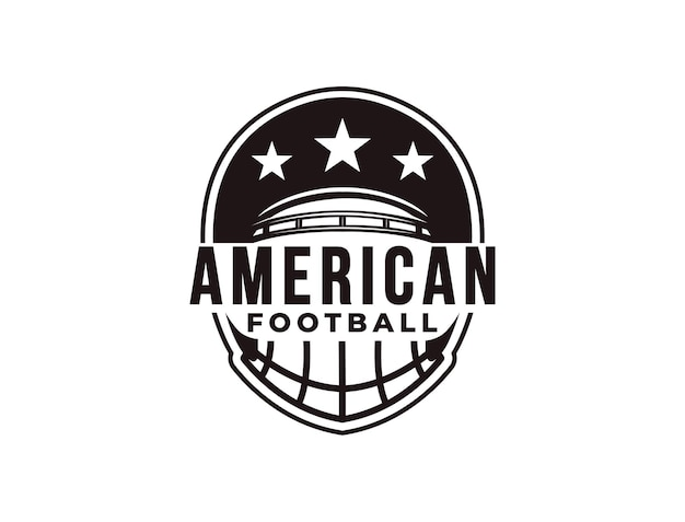 Godło sportowe logo futbolu amerykańskiego z kaskiem piłkarskim