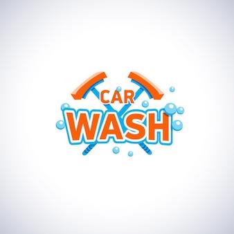 Godło stylu kreskówka myjnia samochodowa z bąbelkami i mopem, szablon logo na białym tle.