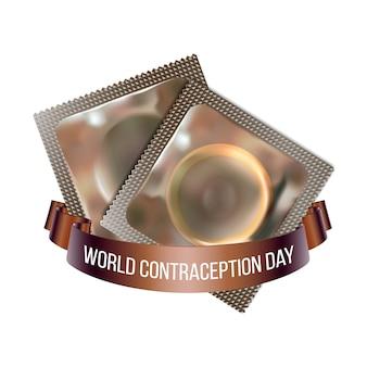 Godło światowego dnia antykoncepcji, ilustracja dwóch prezerwatyw ze wstążką na białym tle. 26 września światowa etykieta wydarzenia świątecznego opieki zdrowotnej, element graficzny dekoracji karty z pozdrowieniami