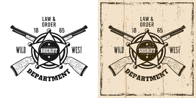 Godło szeryfa western wektor, odznaka, etykieta, logo lub nadruk koszulki w dwóch stylach monochromatycznych i kolorowych w stylu vintage