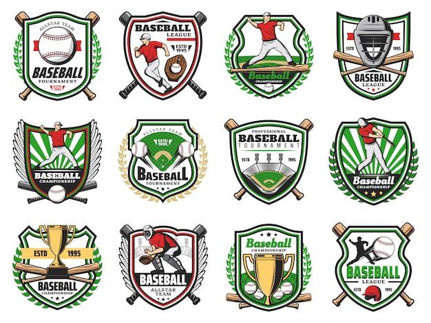 Godło turnieju baseballowego, odznaki drużyn klubu sportowego