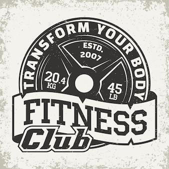 Godło typografii fitness, logo sportowe siłowni