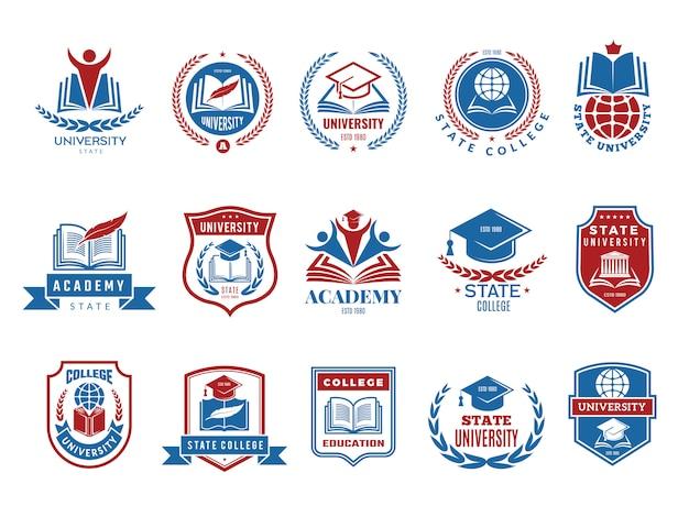 Godło uczelni. kolekcja logotypów odznak szkolnych i uniwersyteckich