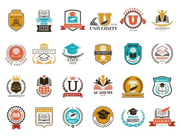 Godło uczelni. szkoła lub uniwersytet symbole tożsamości odznaki i kolekcja logo. kolegium i szkoła, ilustracja godło uniwersytetu