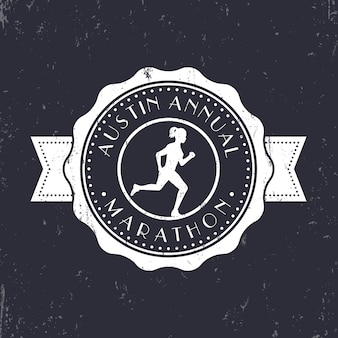 Godło vintage maratonu, odznaka, okrągłe logo maratonu, znak maratonu z uruchomioną dziewczyną, ilustracja