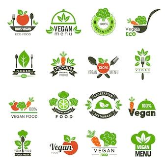 Godło wegańskie. świeży ekologiczny rynek zdrowej żywności wegetariańskie herby zielone symbole ekologii na białym tle. ilustracja logo wegetariańskie menu, bio ekologiczne jedzenie