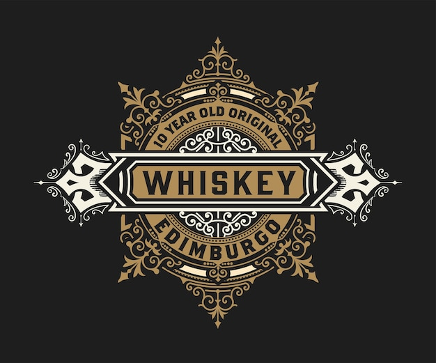 Godło whisky z ramą vintage