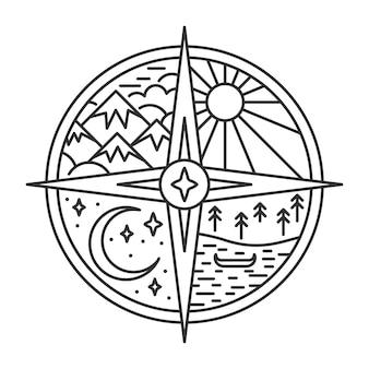 Godło z kompasem w stylu linii krajobraz przyrody z górą i promieniami słońca jezioro z łodzią i nig...