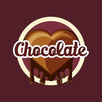 Godło z sercem czekolady ikona na brązowym tle